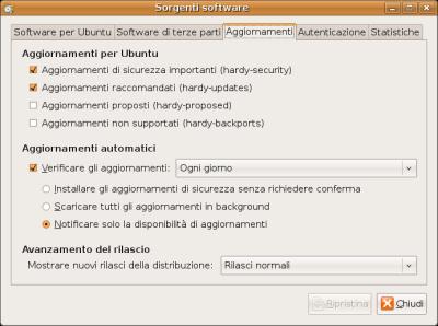 Repository aggiuntivi di Ubuntu