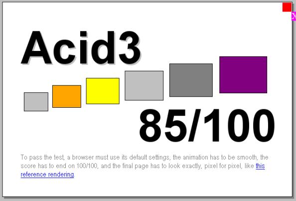 Acid3 test Firefox 3.1b1pre 20080905