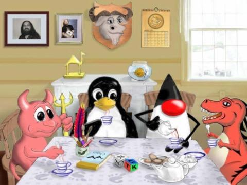 Un quadretto con le mascotte di alcuni software liberi